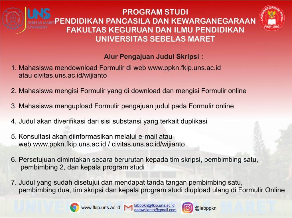 Pengajuan Judul Skripsi Prodi Ppkn Fkip Uns Program Studi Ppkn Fkip Uns